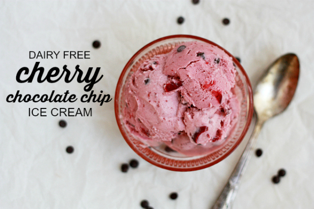 Dairy Free Cherry Chocolate Chip Ice Cream. SO creamy and delicious and the sweetness comes from the loads of cherries in it!