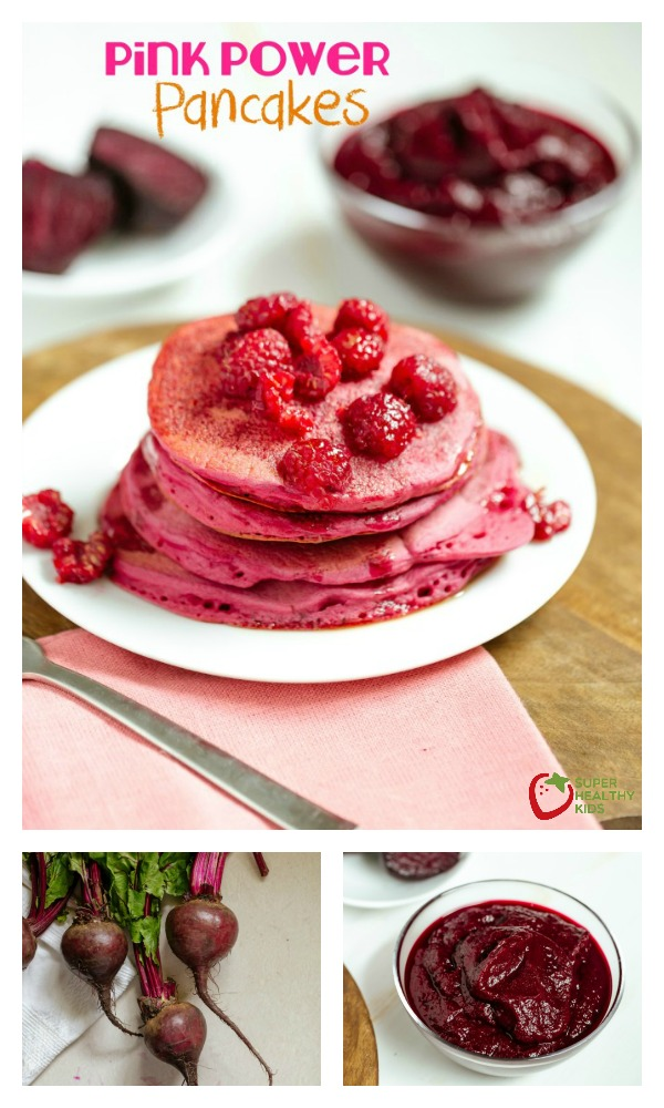 FOOD - Homemade Pancake Recipe: Pink Power. These pancakes use only veggies for color and taste amazing! https://www.superhealthykids.com/homemade-pancake-recipe-pink-power/