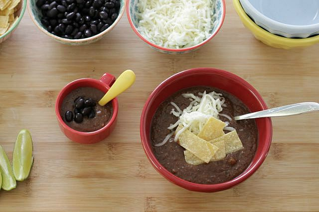 30-Minute Black Bean Soup. Packed with lots of veggies, this soup is the perfect way to get your family to eat healthy and love it! www.superhealthykids.com