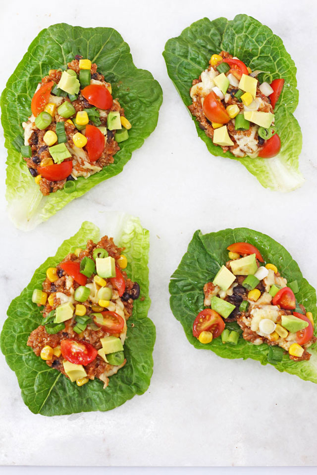 Slow Cooker Quinoa Lettuce Cups Recipe. Packed full of protein these Chili & Quinoa Lettuce Cups cooked in the slow cooker make a delicious, healthy and fun dinner for adults and kids!