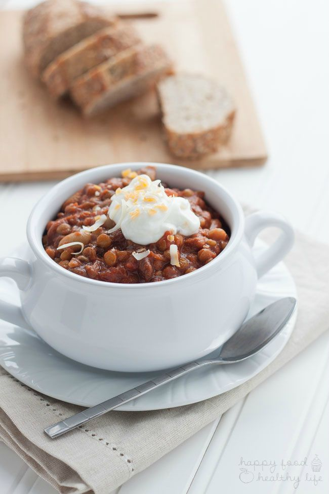 Slow-Cooker Vegetarian Chili - just 5 minutes to throw everything in the crock-pot. 4 hours later, and you have a hearty meal that is sure to warm you from the inside! www.superhealthykids.com