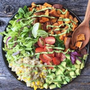 Taco Bowl with Avocado Lime Dressing