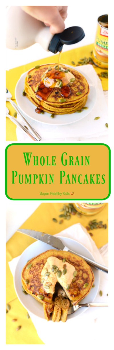 FOOD - Whole Grain Pumpkin Pancakes. Get festive with fall and make these 100% whole grain pumpkin pancakes sweetened fruit and that will also give you a serving of veggies at breakfast! http://www.superhealthykids.com/whole-grain-pumpkin-pancakes/