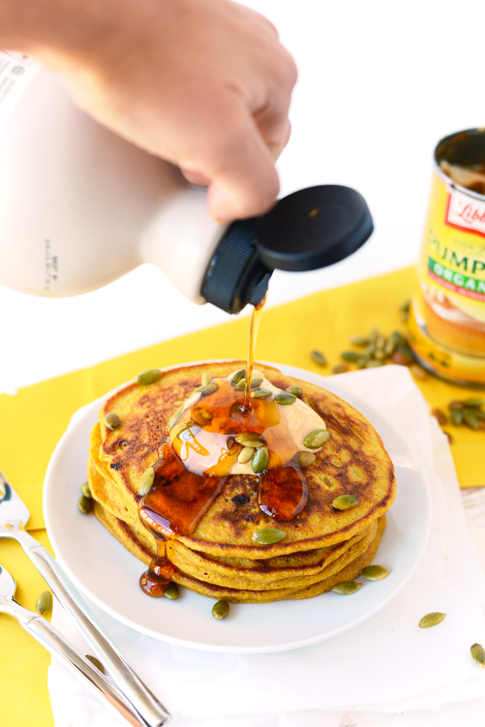 Whole Grain Pumpkin Pancakes. Get festive with fall and make these 100% whole grain pumpkin pancakes sweetened fruit and that will also give you a serving of veggies at breakfast! www.superhealthykids.com