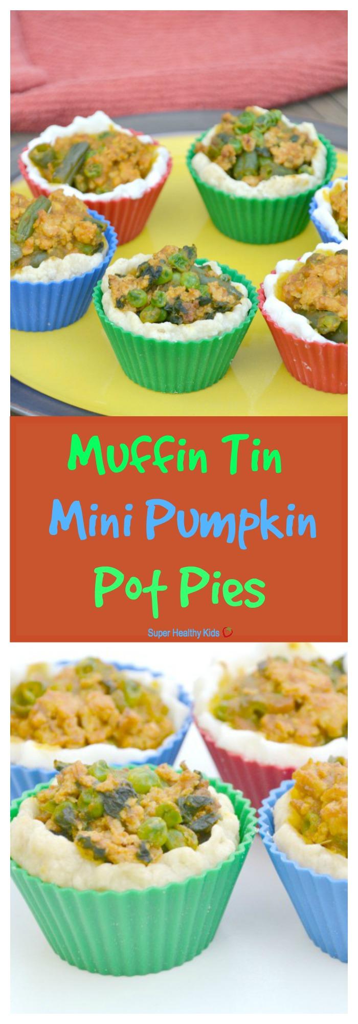 FOOD - Muffin Tin Mini Pumpkin Pot Pies. Use Thanksgiving leftovers to make this quick weeknight meal! http://www.superhealthykids.com/muffin-tin-mini-pumpkin-pot-pies/