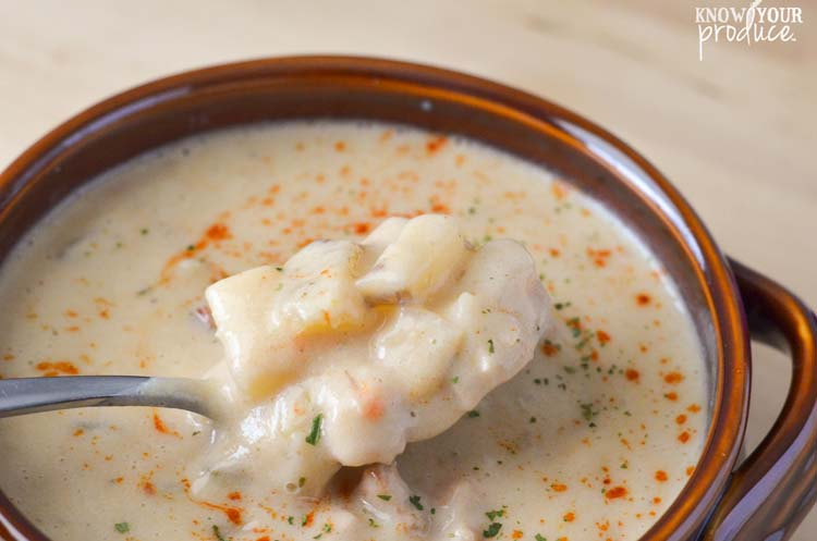 Creamy Pork and Cauliflower Potato Soup. Delicious hearty flavor with good for you ingredients. www.superhealthykids.com