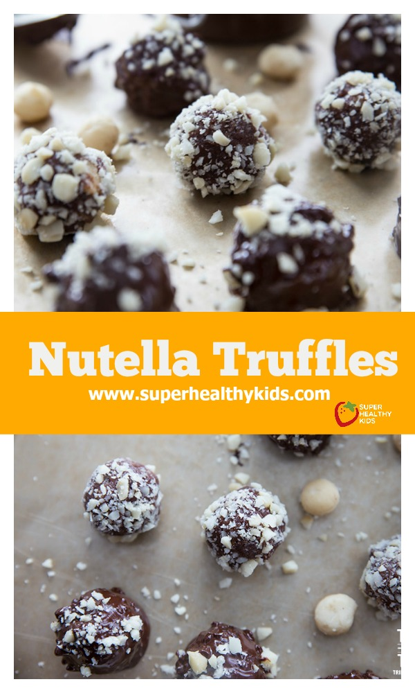 FOOD - Nutella Truffles. These Nutella Truffles are made without any refined sugar, sweetened naturally with dates. These truffles are out of this world! http://www.superhealthykids.com/nutella-truffles/