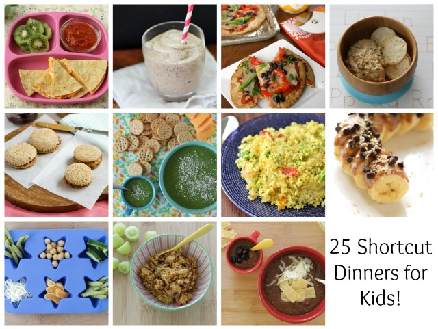 25 Easy Shortcut Dinners for Kids. Perfect for those busy nights around the holiday! www.superhealthykids.com