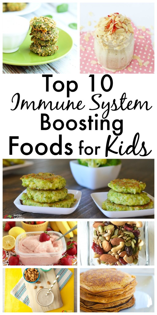 FOOD - Top 10 Immune System Boosting Foods For Kids. Naturally boost their immune systems and keep your kids healthy all year long! http://www.superhealthykids.com/top-10-immune-system-boosting-foods-kids-ideas-recipes/