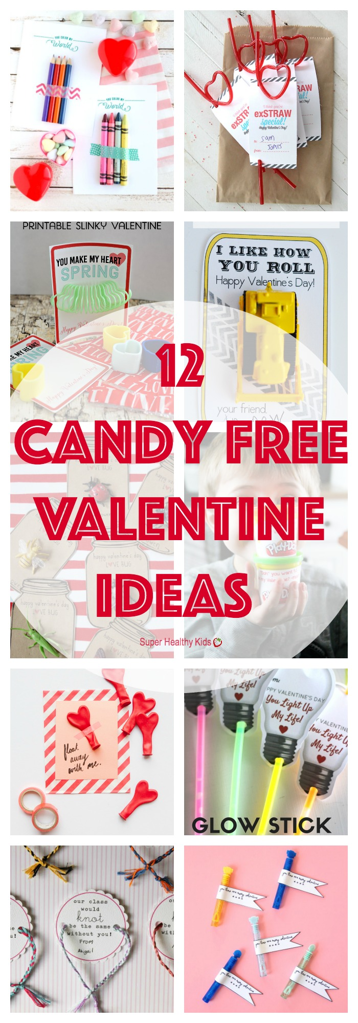 VALENTINE IDEAS - 12 Candy Free Valentine Ideas. Send your kiddo to school with one of these candy free treats this year! http://www.superhealthykids.com/12-candy-free-valentine-ideas/