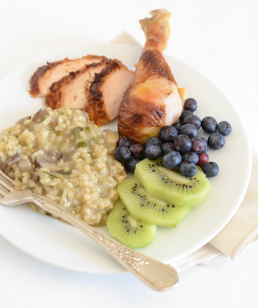 Rotisserie Chicken with Very Veggie Rice Pilaf and Fruit on the side