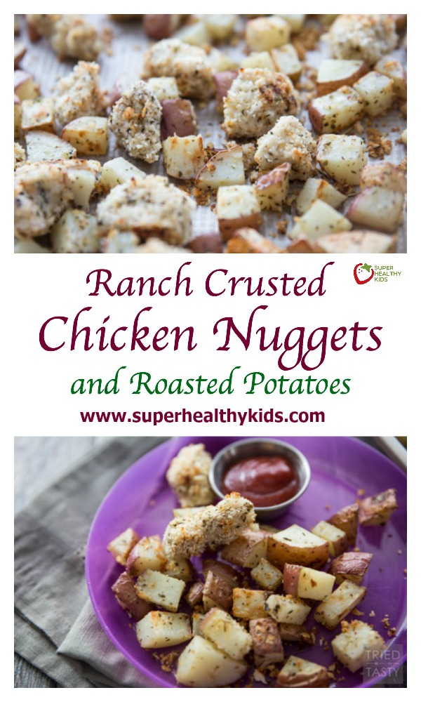 RANCH CRUSTED CHICKEN NUGGETS AND ROASTED POTATOES | This one pan meal is sure to please kids and adults alike. Make with only a few simple ingredients, these are chicken nuggets you can feel good about feeing your children!