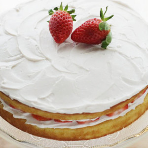 Lower Sugar Vanilla Cake with Strawberry Frosting