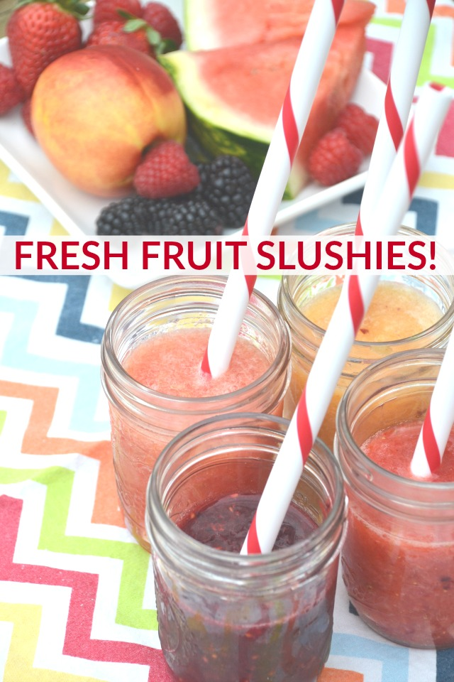 Fresh fruit slushies make a refreshing and hydrating summer drink without anything artificial. www.superhealthykids.com