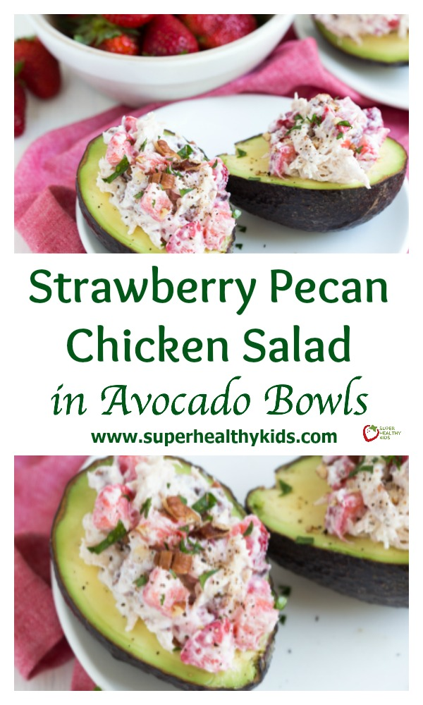 Strawberry Pecan Chicken Salad is made with fresh strawberries, pecans, and Greek yogurt! Serve the salad is fresh avocado bowls.