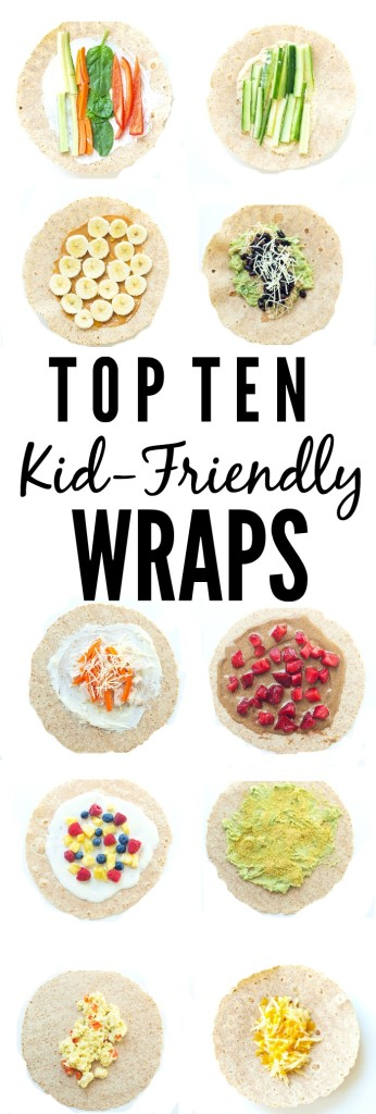 FOOD - Top 10 Kid-Friendly Wraps. Great ideas to get out of the sandwich rut! https://www.superhealthykids.com/top-10-kid-friendly-wraps/