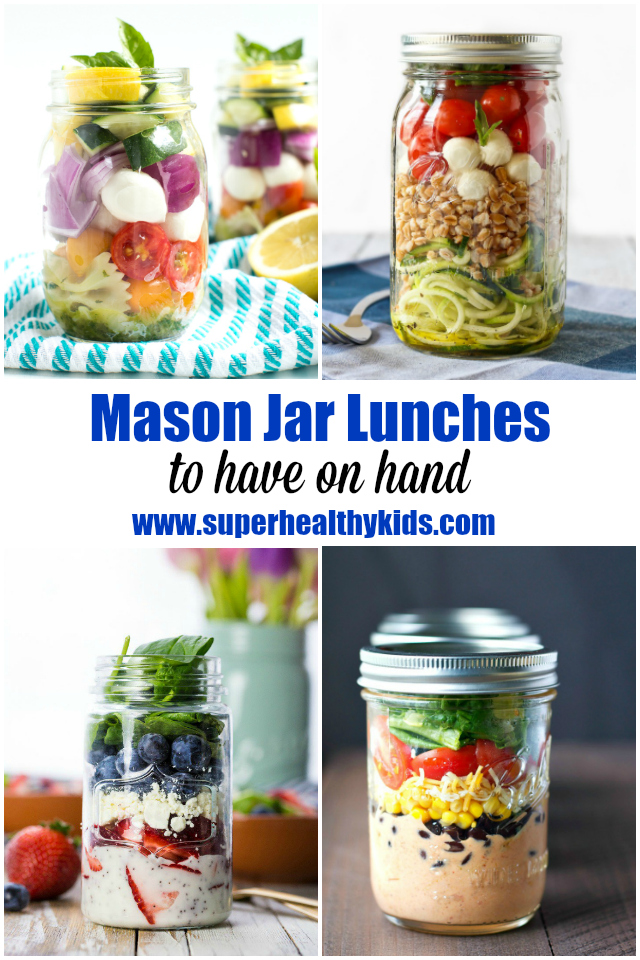 FOOD - 10 Mason Jar Lunches to Have on Hand. We LOVE mason jars - especially to pre-make our lunches to have on hand. http://www.superhealthykids.com/10-mason-jar-lunches-hand/