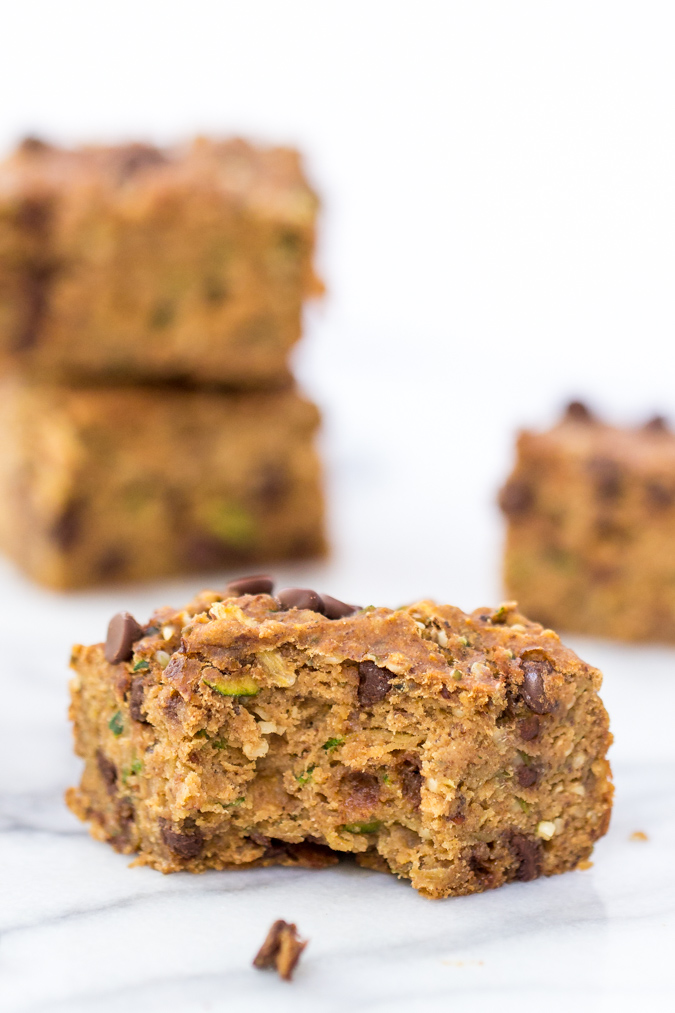 Zucchini Chocolate Chip Protein Bars -- kid-friendly, allergy-friendly and absolutely delicious! No protein powders included - just naturally good protein! www.superhealthykids.com