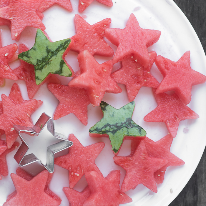 Cutting watermelon stars forStar Spangled Infused Water