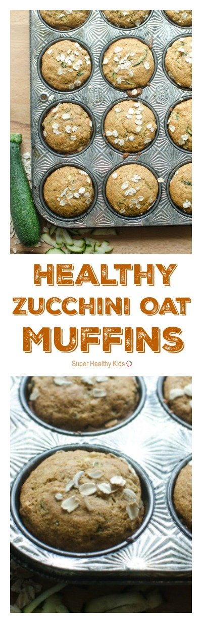 Healthy Zucchini Oat Muffins. Here's what you are going to love about them: they are made with whole grains, they are naturally sweetened, and they have vegetables in them! http://www.superhealthykids.com/healthy-zucchini-oat-muffins/