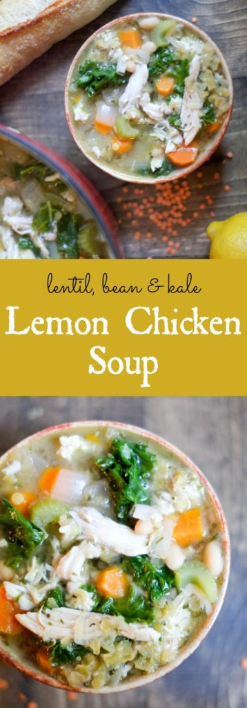 Lemon Chicken Soup with Lentils, Kale, & Beans. This soup contains a double dose of one of our favorite things! http://www.superhealthykids.com/lemon-chicken-soup-lentils-kale-beans-recipe/
