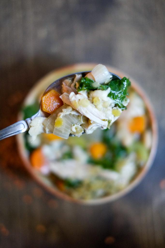 Lemon Chicken Soup with Lentils, Kale, & Beans. Hearty, filling chicken soup with a lemon twist!