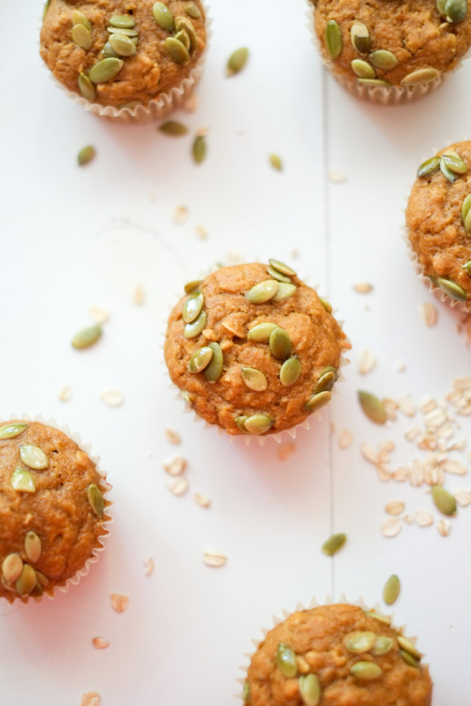 Maple-Oat Pumpkin Muffins. Delicious pumpkin muffins that are healthy too! Maple syrup sweetened and applesauce instead of oil make these tasty muffins guilt-free!