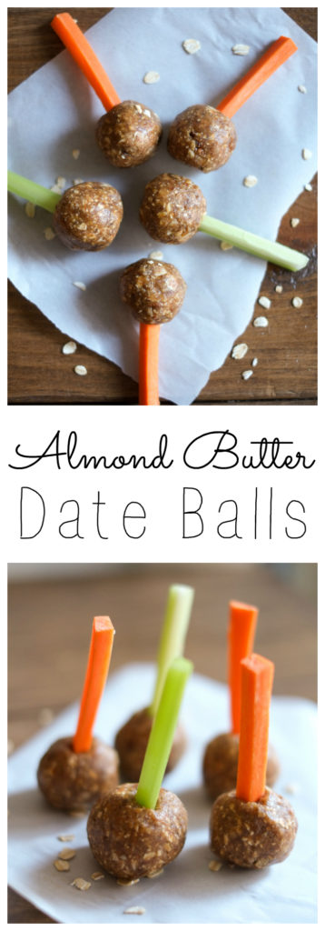 """Almond Butter Date Balls. These almond butter date balls are protein-packed, convenient, and delicious. Try them on carrot and celery sticks for a fun date ball """"pop""""! https://www.superhealthykids.com/almond-butter-date-balls-recipe/"""