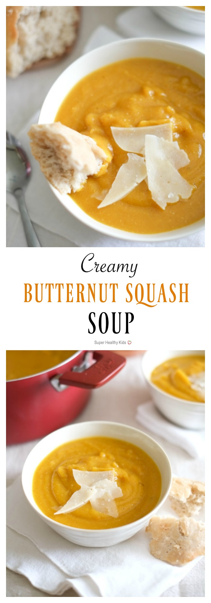 Creamy Butternut Squash Soup. Creamy, warm butternut squash soup embodies fall. The best part? You won't feel like you need to hibernate afterward because it's also light and healthy. http://www.superhealthykids.com/creamy-butternut-squash-soup-recipe/