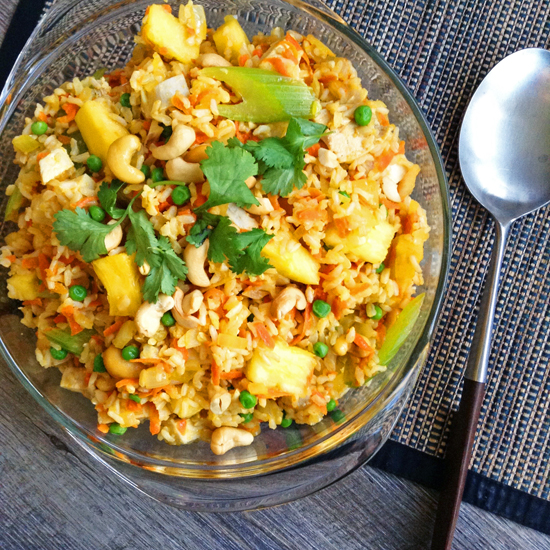 Pineapple Fried Brown Rice. Sweet and savory whole grain Pineapple Fried Brown Rice packs fruits AND veggies into one main dish.