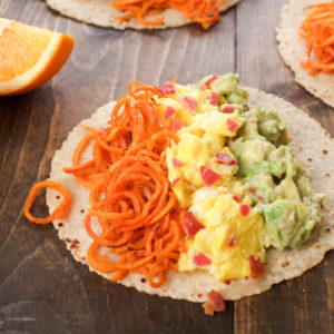 Sweet Potato Noodle & Egg Tacos with Citrus Guac [from Superfood Weeknight Meals]
