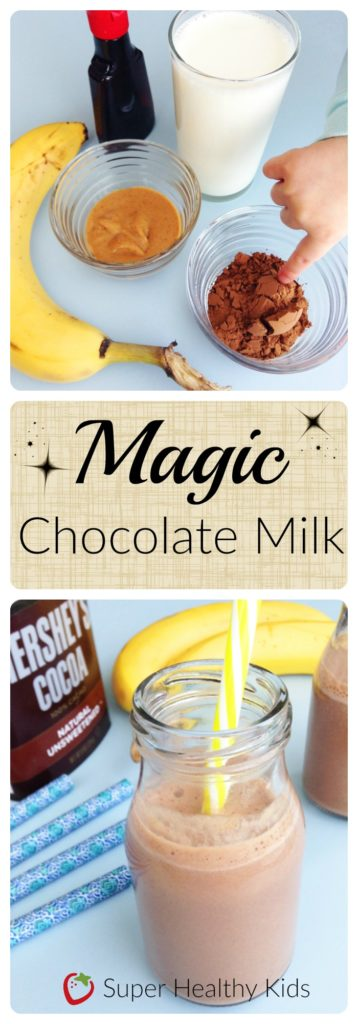 FOOD - Magic Chocolate Milk. Kids love this creamy, fruit-sweetened remake of chocolate milk that tastes--magically!--just like the store-bought variety. http://www.superhealthykids.com/magic-chocolate-milk/