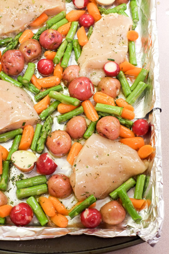 Sheet Pan Chicken and Spring Veggies Recipe   Super Healthy Kids   Food and Drink   Easy Weeknight Dinner