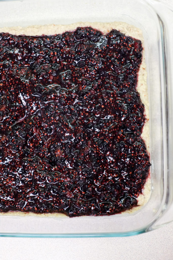 A delicious layer of chia seed blackberry jam.