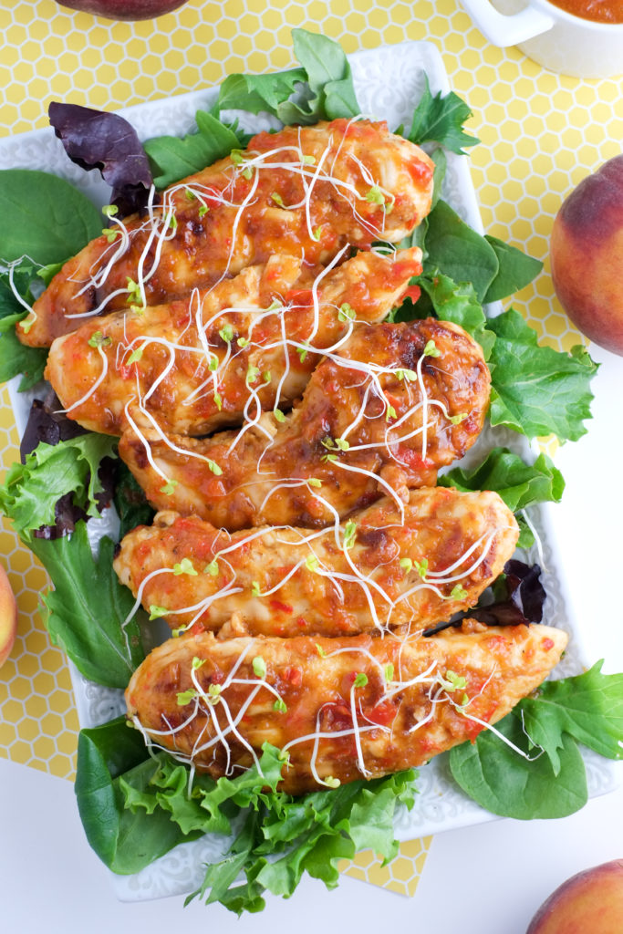 These peach BBQ chicken tenders are so easy, healthy, and tasty.