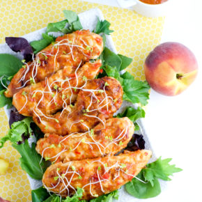 Hellooooo summer! Peach BBQ chicken tenders - yum!
