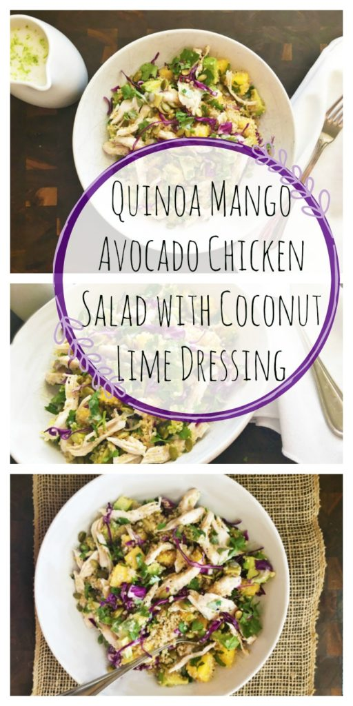 Quinoa Mango Avocado Chicken Salad with Coconut Lime Dressing