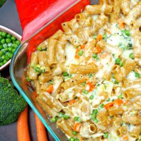 rigatoni in pan with veggies