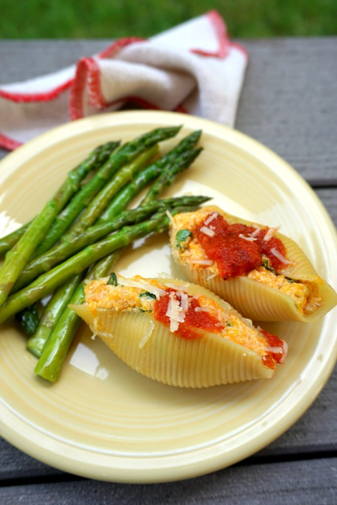 stuffed shells with asparagus outside