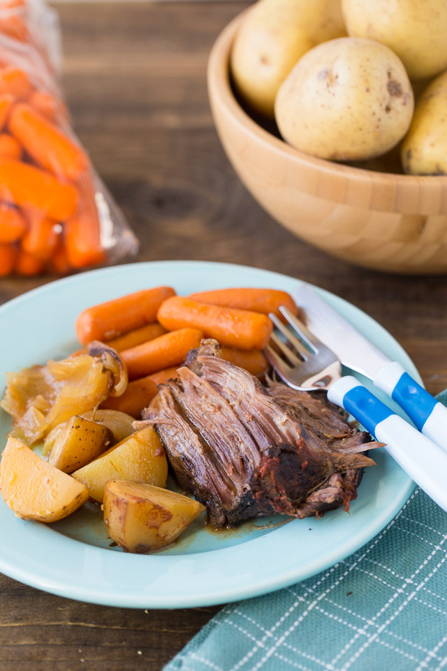 Making Slow Cooker Cider Braised Pot Roast