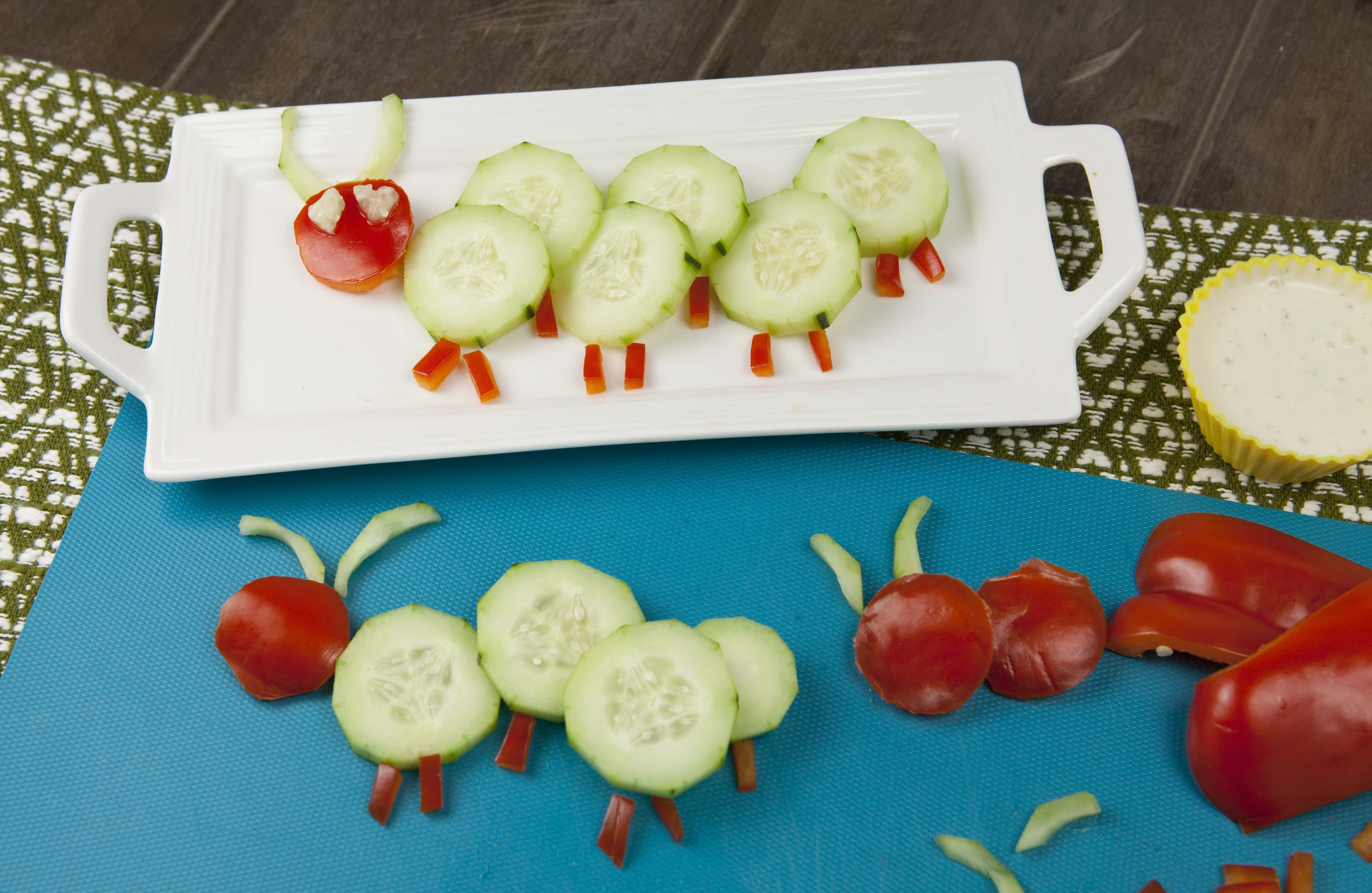 Cucumber Caterpillar Snack- fun food for kids