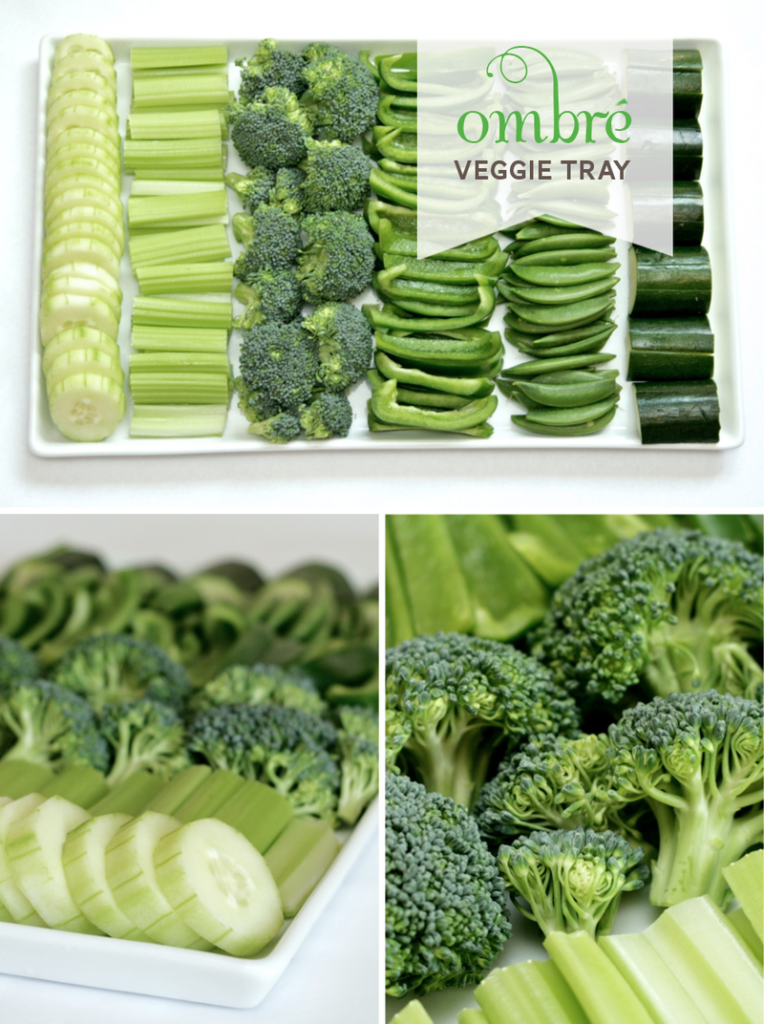 Green Ombre Veggie tray fun food for St. Patrick's Day