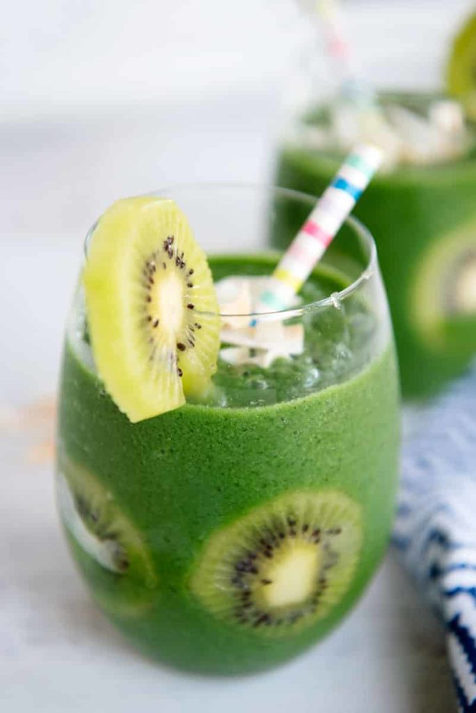 20 Fun and Healthy Food Ideas to Celebrate St. Patrick's Day, green smoothie and kiwi
