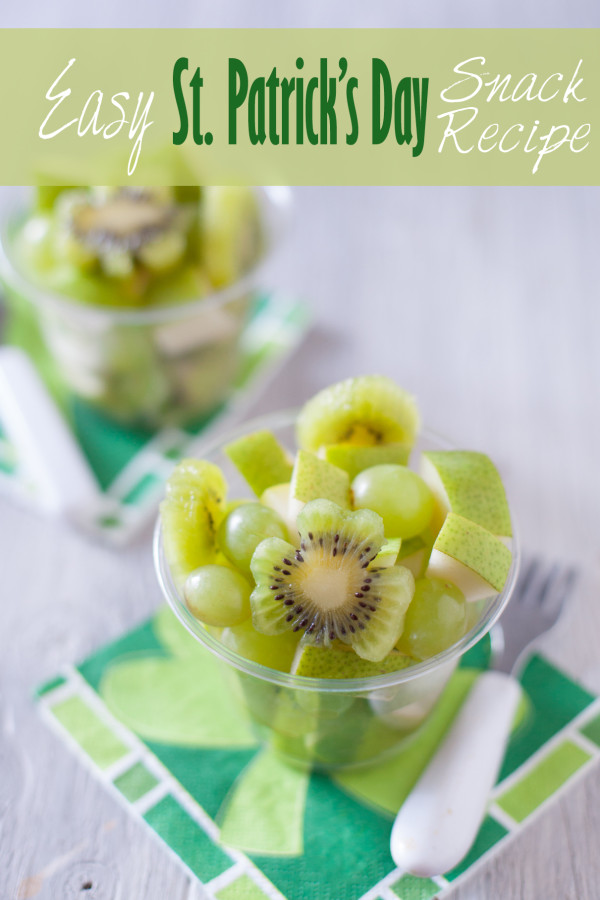 Greet Fruit Salad Healthy Kid Snack St. Patrick's Day kiwi and grapes and pear