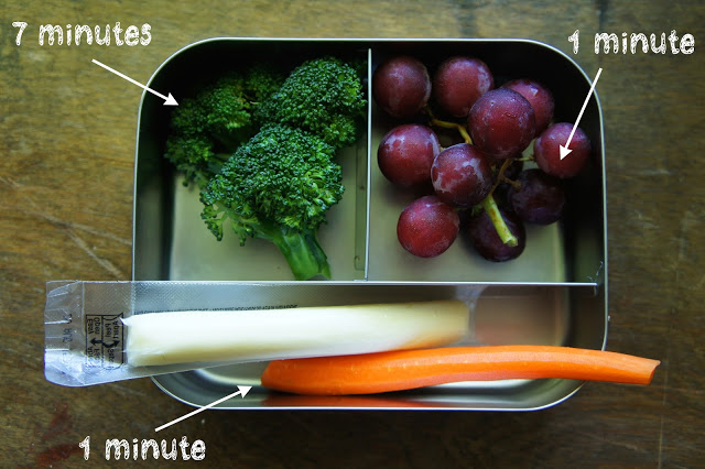 lunchbox with quick fresh fruits and veggies