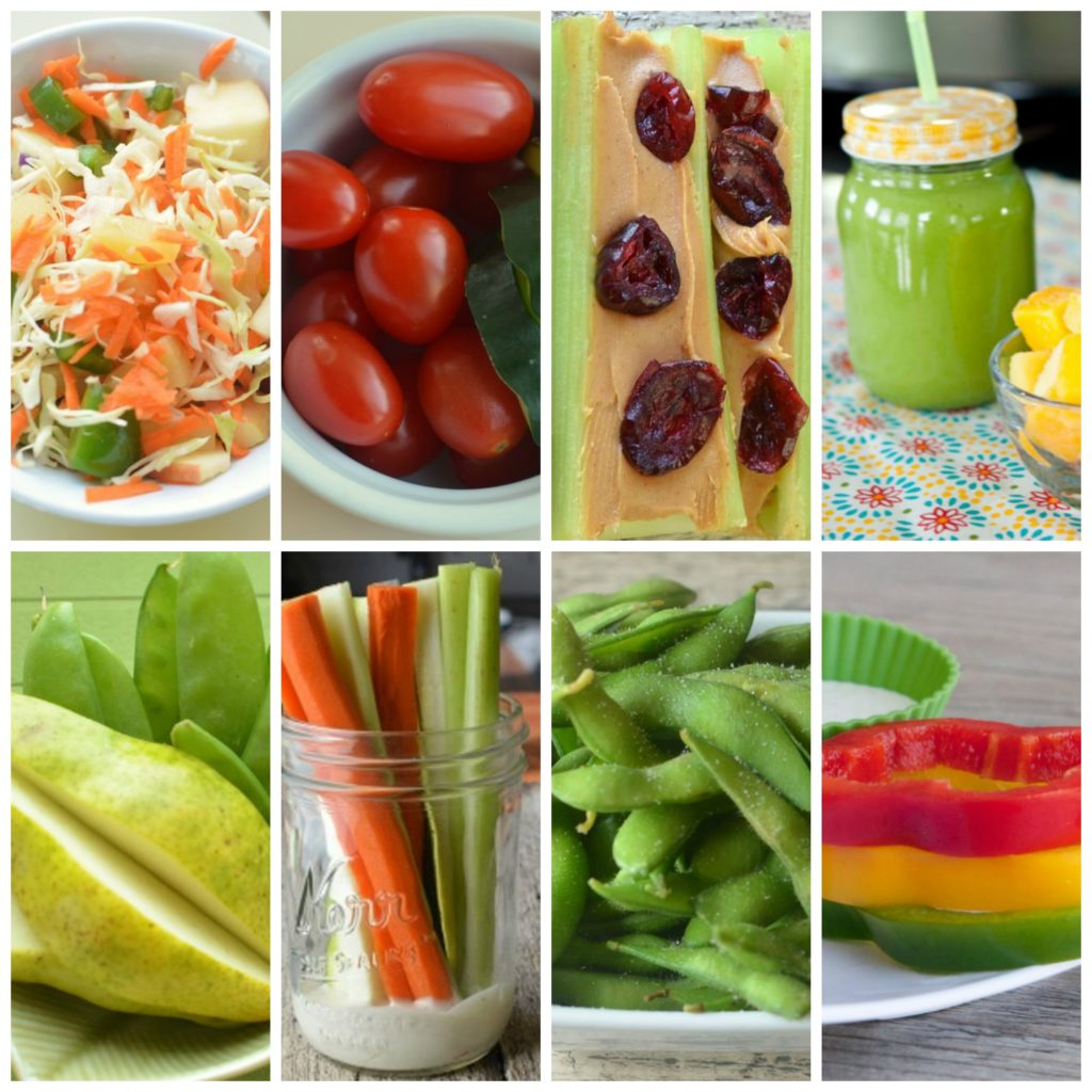 fast fruits and veggies, snacks, peppers, green beans, pears, tomatoes, celery