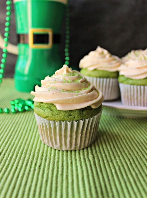 Healthy Green Spinach Cupcakes with Irish Cream for St. Patrick's Day Fun Food