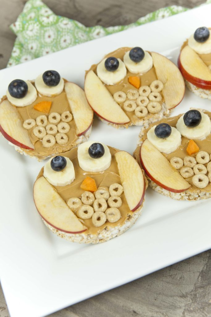 Rice cake owl with apples, cheerios, banana and blueberries healthy fun kids snack