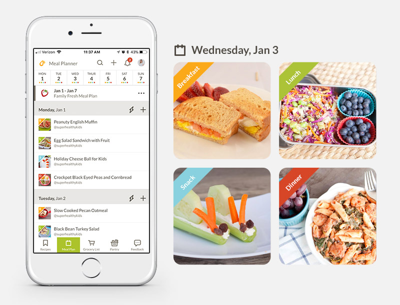 Prepear Meal Plan Screen Shot with Meal Photos and Healthy Snacks