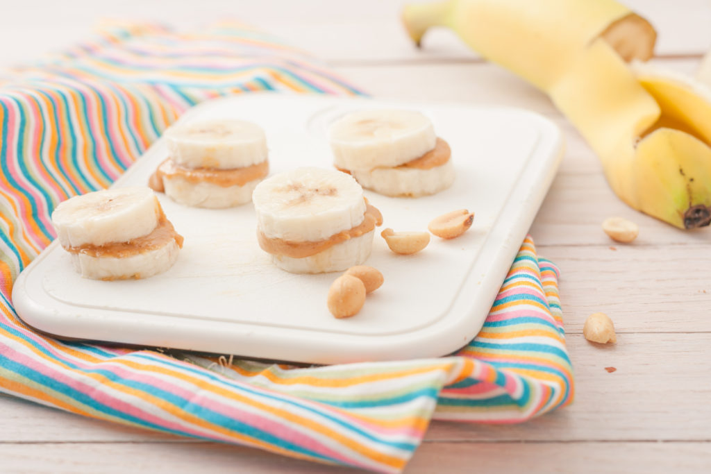 Banana bites with peanut butter, gluten free snack for kids.